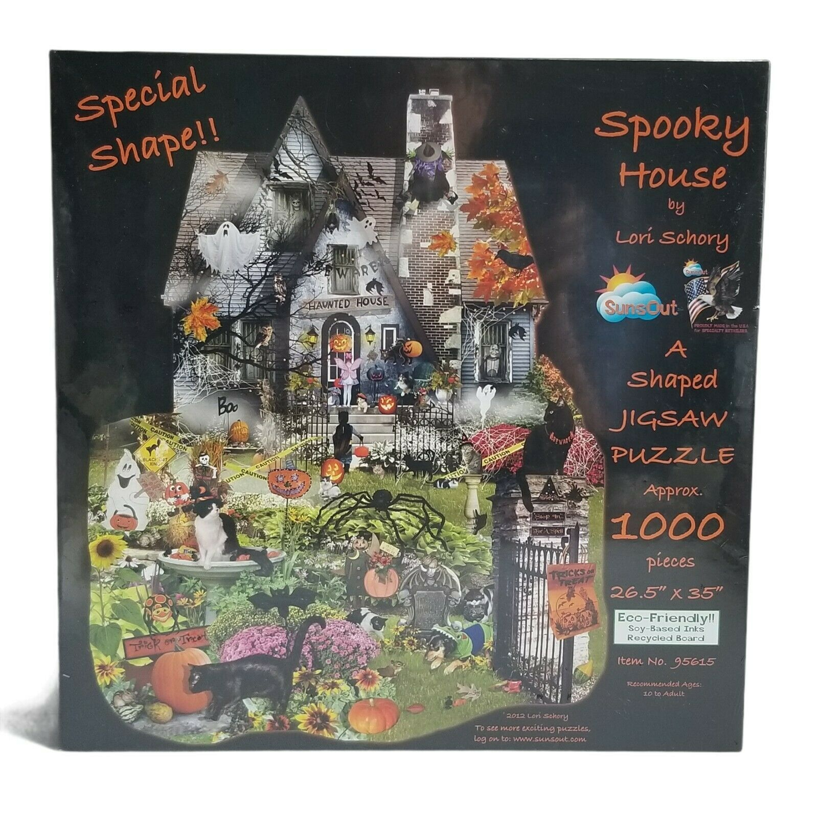 NEW Sealed Spooky House Puzzle SunsOut Lori Schory Halloween Shaped 1000 Pc - $28.80