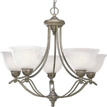 Platinum Mist 5 Light Chandelier Swirled Alabaster Progress Lighting P40... - $5.288,99 MXN
