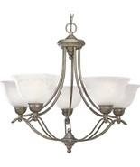 Platinum Mist 5 Light Chandelier Swirled Alabaster Progress Lighting P40... - $260.26