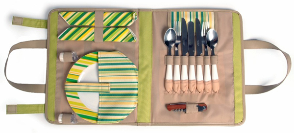 SPRINGTIME WRAP TRAVELING PICNIC WRAP FOR TWO (2) FLATWARE SET
