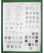HERALDRY Types of Lines Tinctures Escutcheons - 1842 Antique Print - $3.72