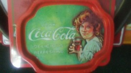 Vintage Coca-Cola Tin Tray Girl & Glass of Coke Delicious and Refreshing... - $8.50