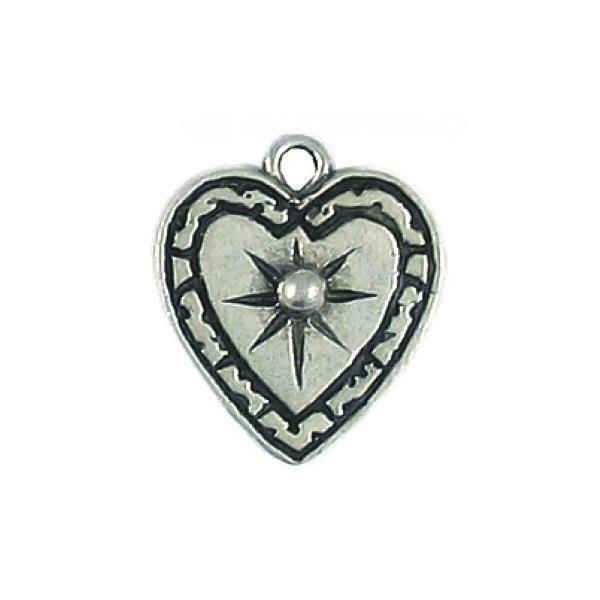 HEART WITH STAR FINE PEWTER CHARM PENDANT - 18mm  x 16mm x 3mm