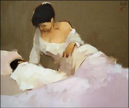"""Admiring the Child, a 24"""" high x 29"""" commissi... - $269.00"""