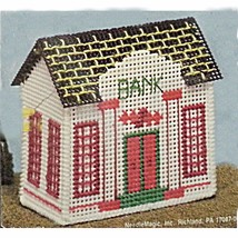 Bank Counted Cross Stitch Kit Stitch Village Building Collectible NMI c228 - $6.99