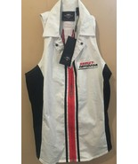 NEW HARLEY-DAVIDSON Women's ZipUp Vest/Tank Embroidered Off-White Tailor... - $54.99