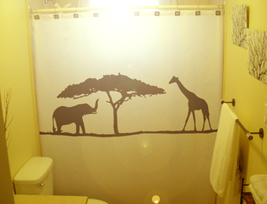 SHOWER CURTAIN Elephant Giraffe Wild Acacia Tree Africa - $100.00