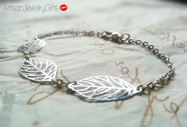 Tiny Silver Leaves Bracelet Tiny Silver Skeleton Leaves Bracelet Silver ... - $24.00