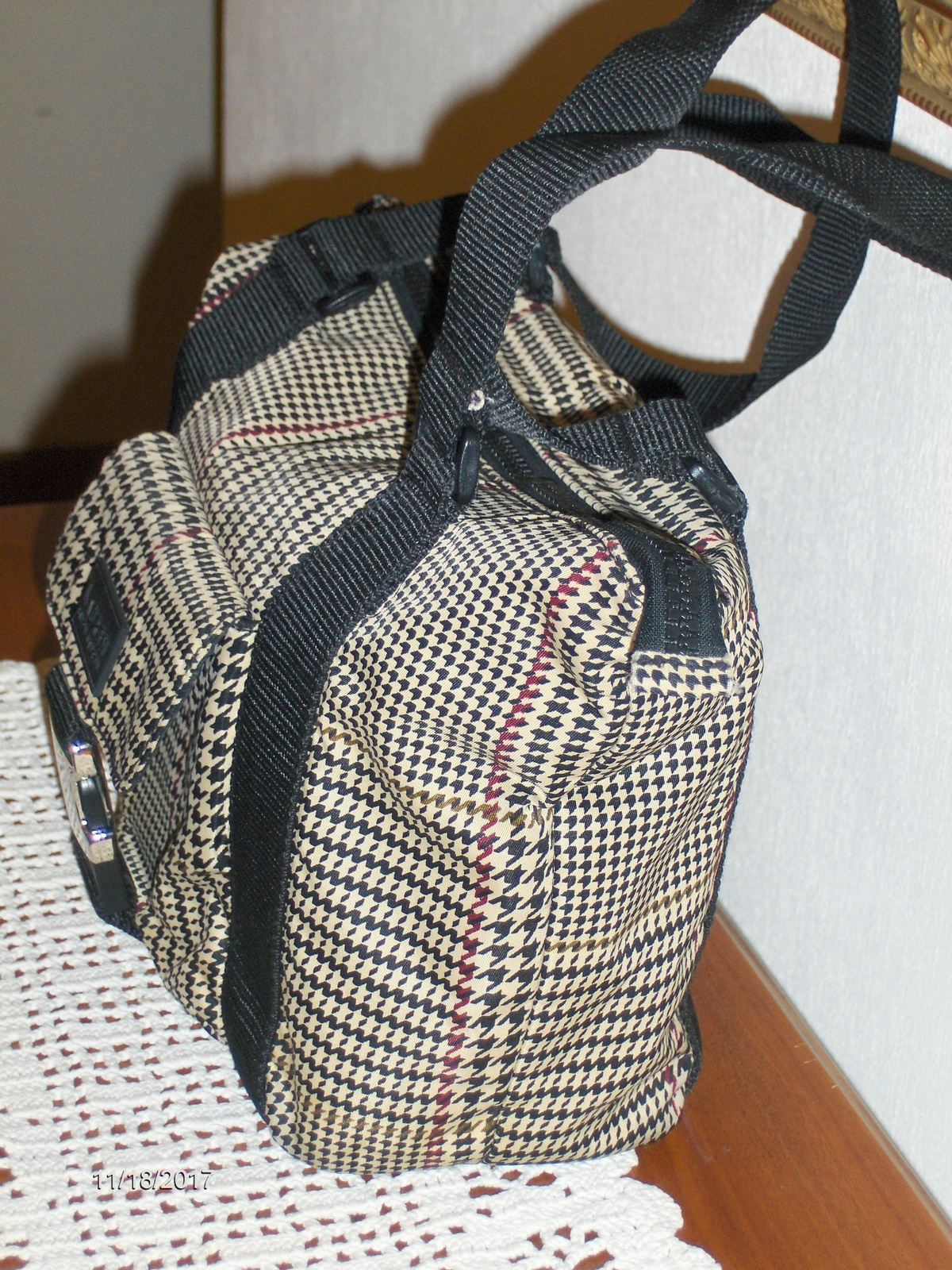 Lauren Ralph Lauren Satchel Black Beige Nylon Houndstooth Purse Shoulder Bag  Tot 82c91ebc9e849