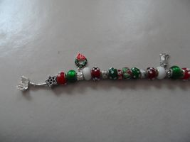 European style red, green and white bead bracelet Christmas holiday theme image 5