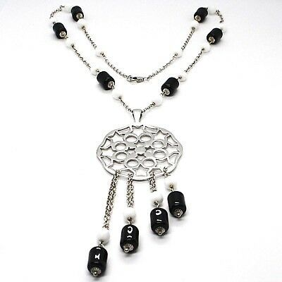 SILVER 925 NECKLACE, ONYX BLACK TUBE, LOCKET STARS AND CIRCLES PENDANT