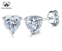 Heart Shape Diamond 14k White Gold Plated 925 Silver Women's Fancy Stud Earrings - $37.99