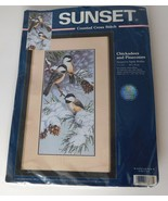 SUNSET Counted Cross Stitch Kit Chickadees and Pinecones #13673 Winter B... - $33.81