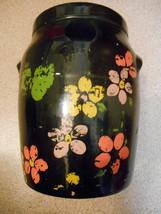 Vintage Color Floral Black Art Deco Retro Jug Vase Planter Pot Crock Coo... - $19.99