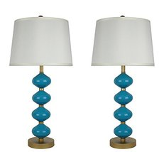 Urbanest Set of 2 Beautor Table Lamps in Gold and Teal Glass with Cream ... - $83.15