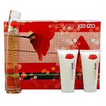 Kenzo Flower 3 Piece Gift Set Eau De Parfum Natural Spray 50ML NIB-K85410010 - $64.35