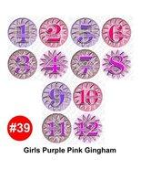 PURPLEPINK GINGHAM Baby Month Onesie Stickers Baby Shower Gift Photo Sho... - $12.59