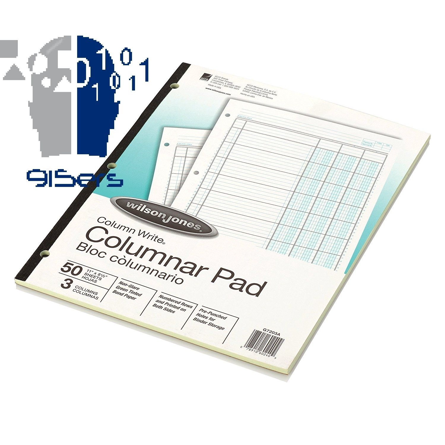 Wilson Jones ColumnWrite Columnar Pad 11 x 8.5 Inch Size Ruled Both Sides Ali...