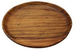 Songwon Round Wooden Plate Platter Serving Dish Bowl 7.8 inches (2 Counts) image 2