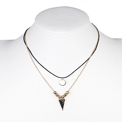 Primary image for UE- Black Faux Leather Gold Tone Designer Choker Necklace & Faux Marble Pendant