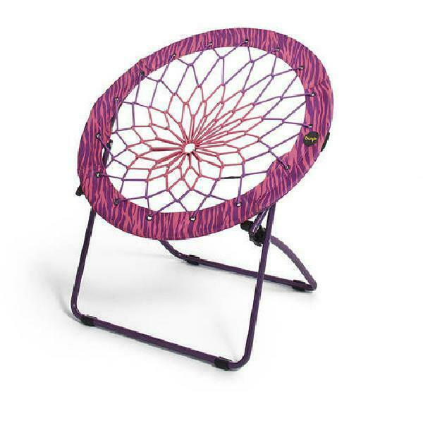 "Pink/Purple Zebra Print 32"" Bunjo Bungee Chair Durable Steel Frame Portable New"