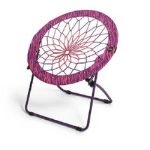 "Pink/Purple Zebra Print 32"" Bunjo Bungee Chair Durable Steel Frame Porta... - $48.59"