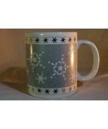 Christmas Mug Gray Band White Snowflakes 8 oz. Mug - $6.29