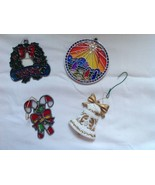 Satin Glass Lot of 3 Christmas Ornaments and Christmas Bell 1992 - $23.76