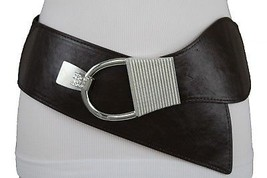 Women Dark Brown Fashion Belt Silver Metal Hook Bling Buckle Hip Waist S... - $16.65