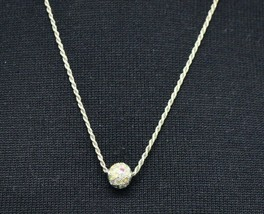 Sterling Silver .925 Pastel Clear Rhinestone Pave Ball Pendant Necklace Vintage - $34.64