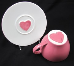 Starbucks Coffee Oversized Cup & Saucer 2005 White Pink Heart Valentine Ceramic - $19.99