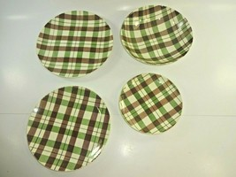 Homer Laughlin Dura Print Green Brown Plaid Tartanware ~ Lot of 3 Plates, 1 Bowl - $42.22
