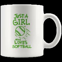 Just a Girl Who Loves Softball 11oz Ceramic Coffee Mug Gift Green Text - $19.95