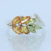 Orange Sapphire Peridot Handmade Sterling 925 Silver Ladies Floral Ring size 7 - £68.96 GBP