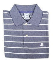 Brooks Brothers Mens Chambray Blue Striped Slim Fit Polo Shirt Small S 3709-3 - $55.53