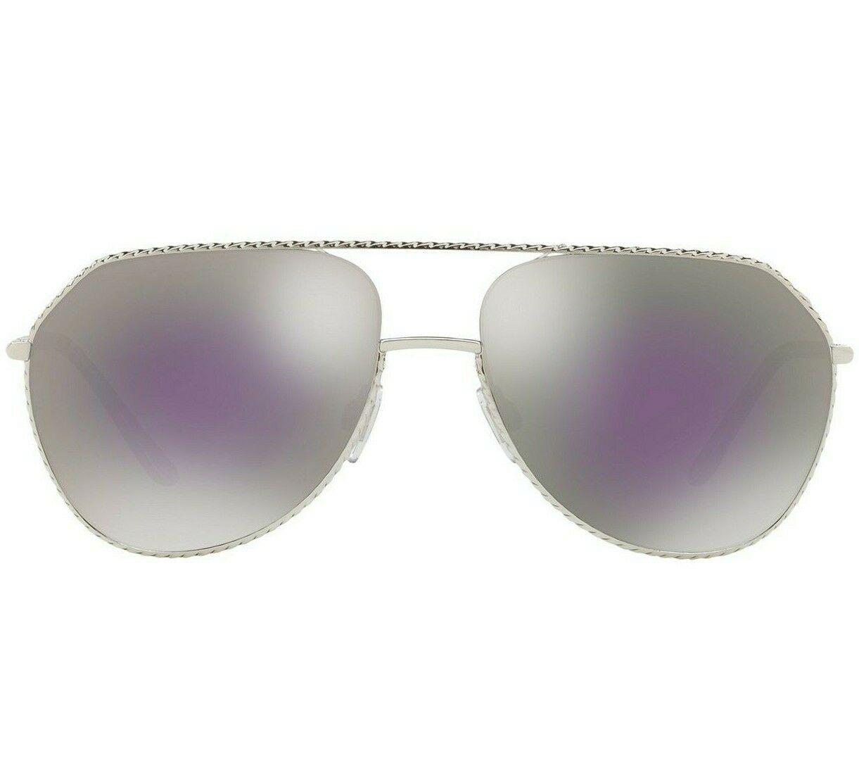 Dolce & Gabbana Pilot DG2191  Silver Frame Lilac Grey Mirror Lens Sunglasses image 2