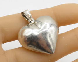 925 Sterling Silver - Vintage Puffy Love Hear Drop Pendant - P1696 - $23.33