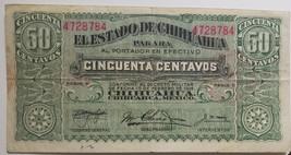 Feb 1 1914 El Estado de Chichuahua 50 Centavos Series U Banknote, CIR - $9.95