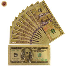 WR 10PCS Money Gifts Colored Gold US Banknote New $100 Dollar In  Envelo... - $20.98