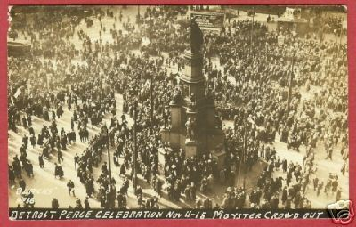 Primary image for Detroit MI Postcard WW One Peace Celebration RPPC BJs