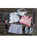 American Girl Tennis Golf Outfit Shoes Putter Racket Visor Ball Vest Skirt - $39.95