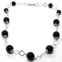 Halskette Silber 925, Onyx Schwarz Facettiert, Länge 45 cm, Kette Rombi - $98.12