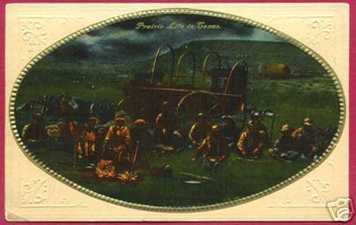 Primary image for TEXAS Cowboys Prairie Life Wagon TX Western 1912