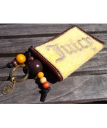 "Juicy Couture Yellow Terry Brown Leather Wood Beads Small Wallet ""J"" Ini... - $9.95"