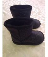 Girls Toddler Size 6 Place boots black metallic faux fur winter   - $21.00
