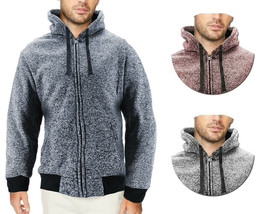 Men's Salt and Pepper Soft Sweater Sherpa Lined Heathered Zip Up Hoodie Jacket image 1