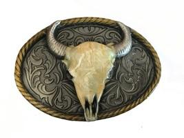 Steer Cow Skull Belt Buckle - Bull Longhorn Steer - Rodeo - White - Horn... - $25.00