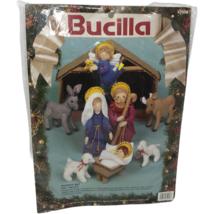 VTG NIP Bucilla Felt Chritmas Nativity Set 82958 Manger Stamped Sealed  - $84.14