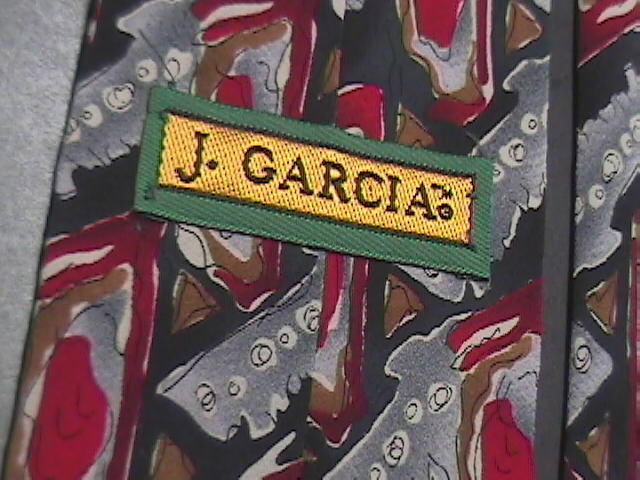 J Garcia Neck Tie Collection 14 Carousel 1996 Black Greys and Red Dominate