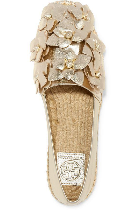 Tory Burch Blossom Gold Leather Platform Espadrilles Floral Flats Shoes 8.5